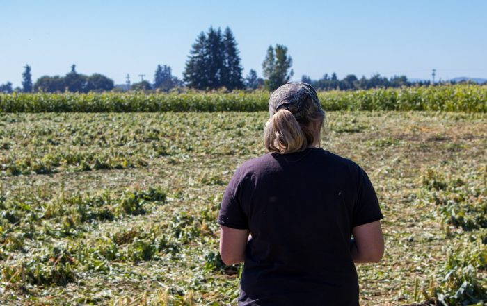 Jessica Blakely Touring Corn and Squash fields Stahlbush Island Farms