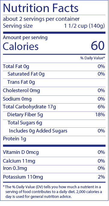 Cranberry Nutrition Label