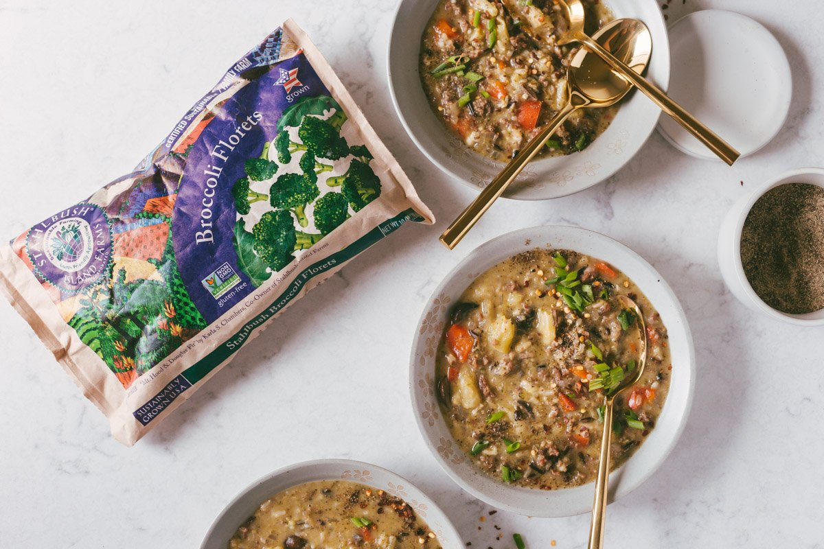 Stahlbush Sustainably Grown Broccoli - Broccoli Sausage Wild Rice Soup In Bowls