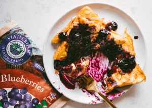 Stahlbush Island Farms Frozen BLueberries Almond Crusted French Toast and Blueberry Sauce