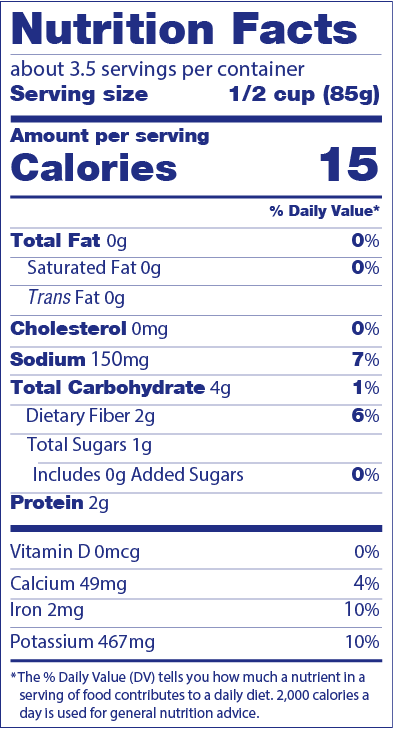 Rainbow Chard Nutrition LAbel