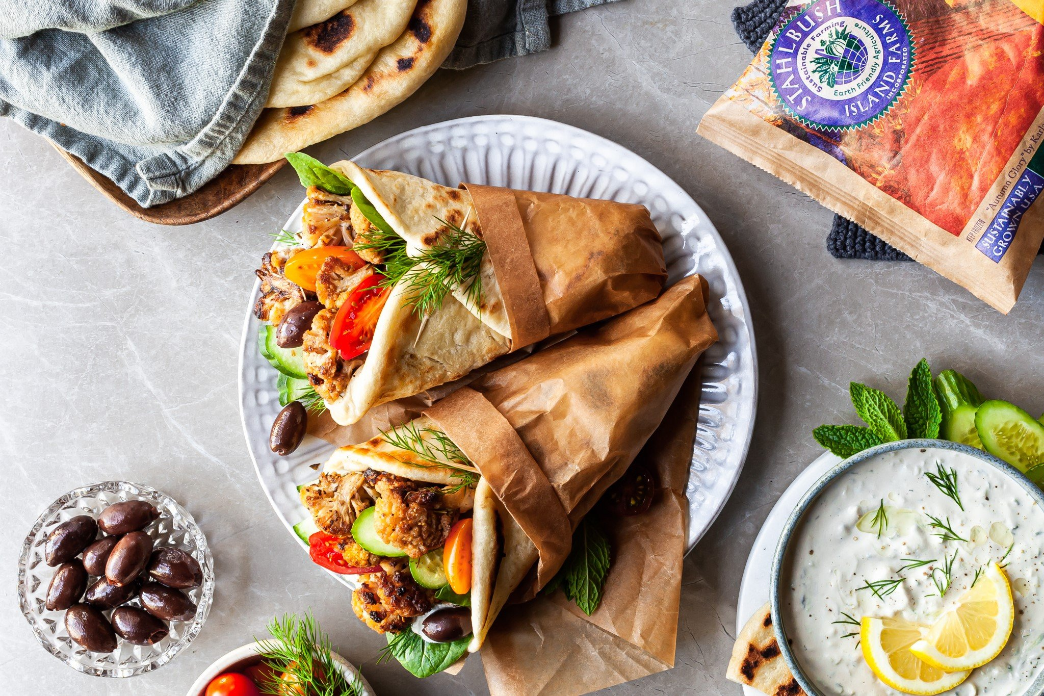 Vegan Cauliflower Gyros Branded by Bronwyn Fraser