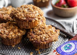 16 x 9 Crop - Branded Vegan Roasted Strawberry Muffins with Oat Streusel by Bronwyn Fraser (1)