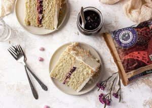 Coconut Cake with Berry Compote Recipe Stahlbush Island Farms Frozen Marion Blackberries